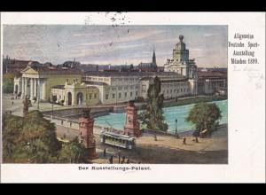 Bayern:Ganzsache 1899 Allgemeine Deutsche Sportausstellung München nach Ansbach