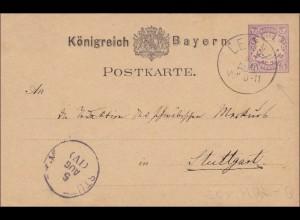 Bayern: Ganzsache Königreich von Rottmannshöhe/Leoni 1879 nach Stuttgart