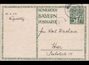 Bayern: Ganzsache 1911 innerhalb von Würzburg