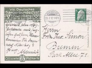 Bayern: Ganzsache 1912 VIII. Deutsches Sängerbundfest in Nürnberg