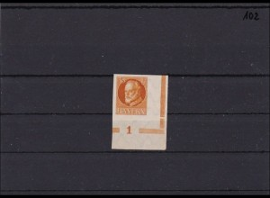 Bayern MiNr. 134 BI ** aus Bogenecke mit Platten Nummer 1