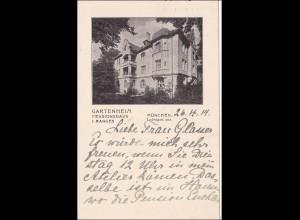 Bayern: Ansichtskarte: Pensionsheim Gartenberg - München