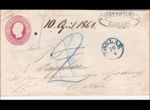 Hannover: Briefumschlag von Goslar nach Celle 1861, Siegel rückseitig erhalten