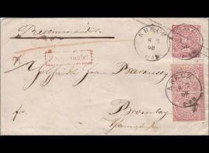 NDP: Ganzsachenumschlag von Kreuz nach Bromberg 1868