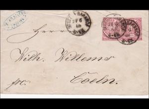 NDP: Ganzsachenumschlag von Stettin nach Coeln 1869
