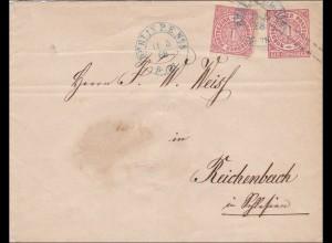 NDP: Ganzsachenumschlag von Berlin PE08 nach Reichenbach 1868