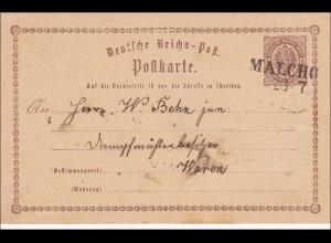 NDP: Ganzsache von Malchow nach Waren 1879