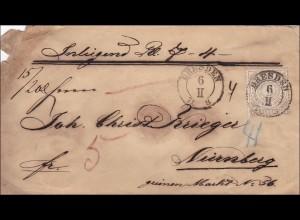 NDP: Brief von Dresden nach Nürnberg mit Wertangabe