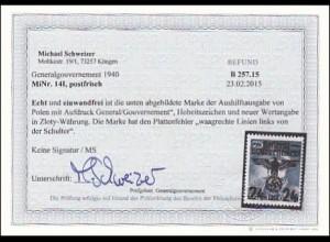 Generalgouvernement (GG) 14-39 Plattenfehler MiNr. 14I FOTOBEFUND