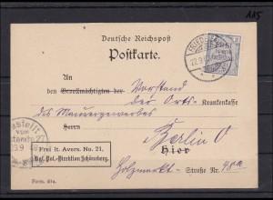 DR Dienst Nr. 1 als Einzelfrankatur, entwertet Friedenau als Ostpostkarte