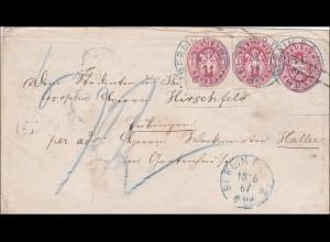 Preussen: Ganzsachenumschlag von Berlin nach Tübingen 1867