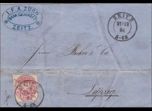 Preussen: Brief von Zeitz, 1864 nach Leipzig 1864, inkl. Text