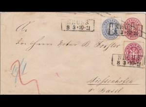 Preussen: Ganzsachenumschlag von Neuss nach Wießenhofen (Basel) 1889