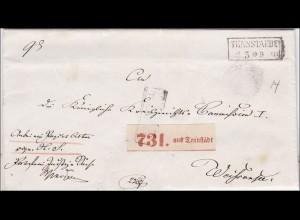 Preussen: Brief von Tennstädt (Kreisgericht Langensalza) von 1861 mit Text innen