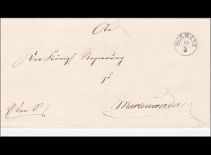 Preussen: Brief von Schwetz nach Marienwerder