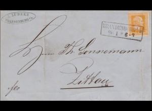 Preussen: Brief MiNr. 8, von Brandenburg nach Zittau 1860, Text und Datum innen