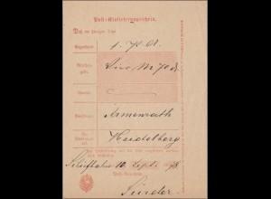 Preussen: Einlieferungsschein von Schiefbahn 1878