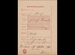 Preussen: Einlieferungsschein von Willich 1876