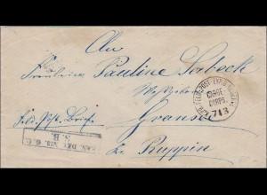 Preussen: Feldpost Brief Garde Corps nach Ruppin, seltener Stempel
