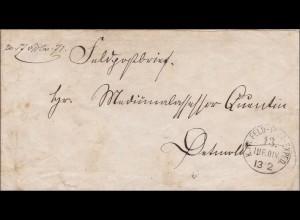 Preussen: Feldpost Brief : K. PR. Infanterie Division nach Detmold1871