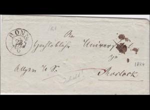 Preussen: Brief von Bonn nach Rostock 1864, innen Text: Von Universität entfernt