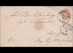 Preussen: Ganzsachenumschlag von Wetzlar 1866