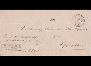 Preussen: Brief von Berlin 1849 mit Text innen