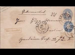 Sachsen: Ganzsachenumschlag von Leipzig nach Berlin 1867