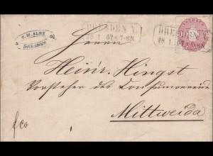 Sachsen: Brief von Dresden nach Mittwieda
