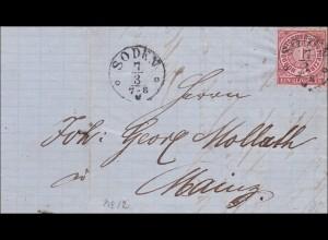 Thurn und Taxis: Brief von Soden nach Mainz 1869 mit Text