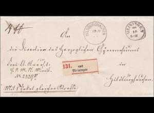 Thurn und Taxis: Brief von Meiningen nach Hildburghausen 1873