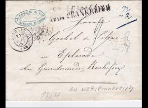 Thurn und Taxis: Brief aus Frankreich nach Mannheim 1851