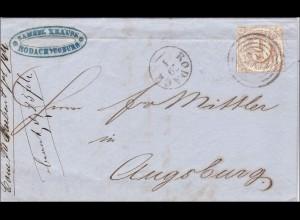 Thurn und Taxis: Brief von Rodach nach Augsburg 1869