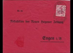 Württemberg: Bahnpost Hegauer Zeitung nach Engen i.B.