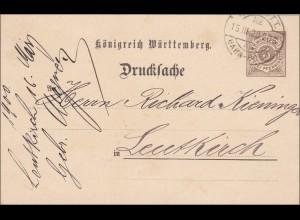 Württemberg: Ganzsache Drucksache von Reutlingen - Bahnpost nach Leutkirch 1900