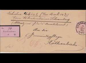 Württemberg: Nachnahme Brief von Schramberg nach Röthenbach 1889