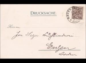 Württemberg: Drucksache von Ravensburg nach Engen, Text aus Pfullingen