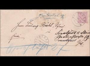 Württemberg: Brief Neckarsulm und zurück 1891, postalischer Zettel: