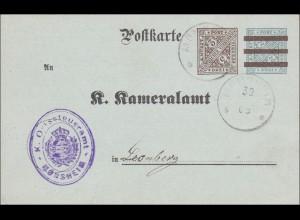 Württemberg: Postkarte Mönsheim an das Kameralamt Leonberg 1908