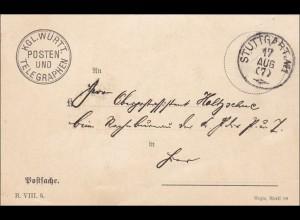 Württemberg: Postsache Telegraphen Posten Stuttgart 1911