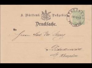 Württemberg:Drucksache von Stuttgart nach Dietmannsried (Kempten) 1878 (Privat)