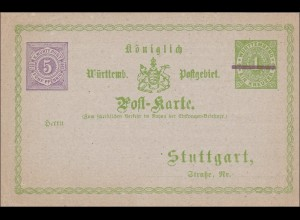 Württemberg: Ganzsache Postkarte Königlich Württembergisches Postgebiet