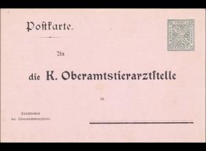 Württemberg: Ganzsache Postkarte Oberamtstierarztstelle DFB 7II6a