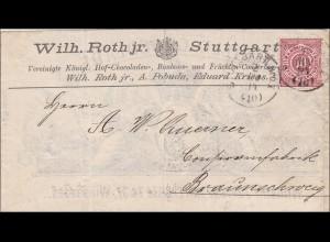 Württemberg: Brief Stuttgart nach Braunschweig 1894, Schokolade Bonbon