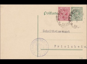 Württemberg: Postkarte Renningen nach Friolsheim 1920