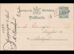 Württemberg: Postkarte von Göppingen nach Stuttgart1892