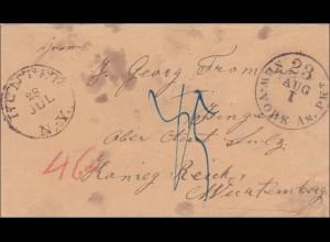 Württemberg: Brief aus New York nach Stuttgart - Aachen