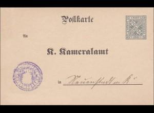Württemberg: Ganzsache-Postkarte Kameralamt, Nachweis Branntweinerzeugung 1902