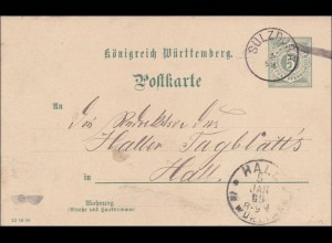 Württemberg: Ganzsache von Sulzdorf nach Hall 1869
