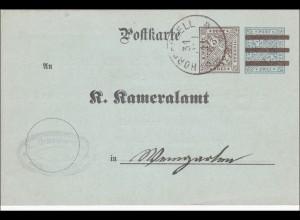 Württemberg: Ganzsache Zogenweiler Weingarten 1911, Meldung Branntweinerzeugung